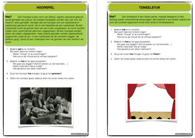 """Een voorbeeld van de fiches """"presentatievormen"""""""
